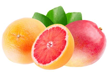 Isolated various fruits. Mango and grapefruit isolated on white background with clipping path as package design element. Archivio Fotografico