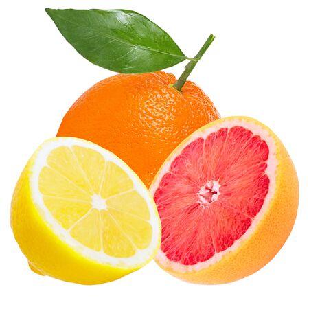 Isolated various fruits. Whole fresh fruits ( orange, lemon and grapefruit) isolated on white background