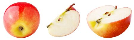 Isolated apples. Set of freshly slices apple isolated on white background with clipping path as package design element.