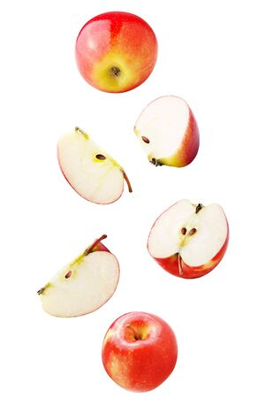 Isolated falling fruits. Falling apple fruit isolated on white background with clipping path as package design element.