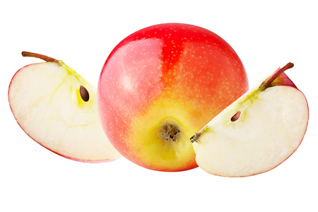 Isolated apples. One whole and slices apple isolated on white background with clipping path as package design element.