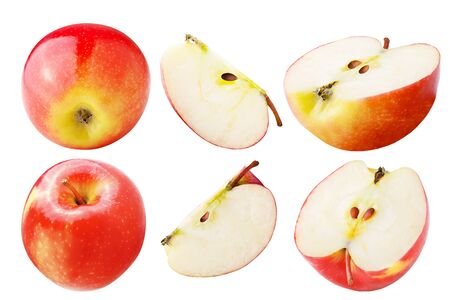 Isolated apples. Set of freshly apple isolated on white background with clipping path as package design element. Archivio Fotografico