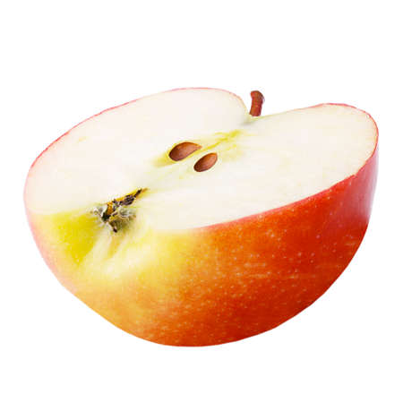 Isolated apple. Freshly half apple isolated on white background with clipping path as package design element. Archivio Fotografico