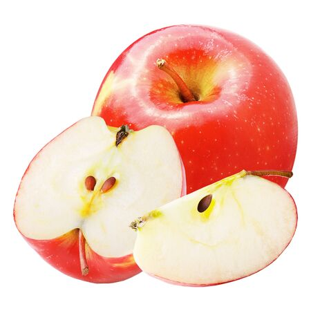 Isolated apples. Whole and slices apple isolated on white background with clipping path as package design element.