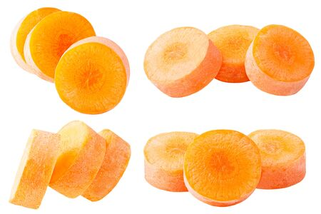 Isolated carrot. Set slices carrots isolated on white background with clipping path as package design element.