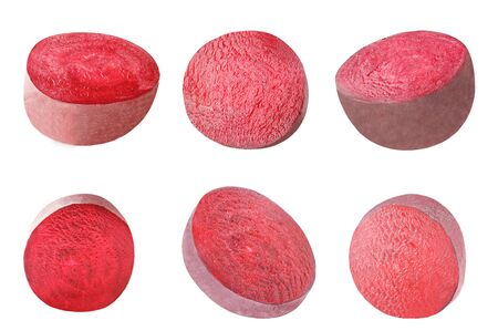 Isolated set of vegetables. Collection of piece of beet isolated on white background