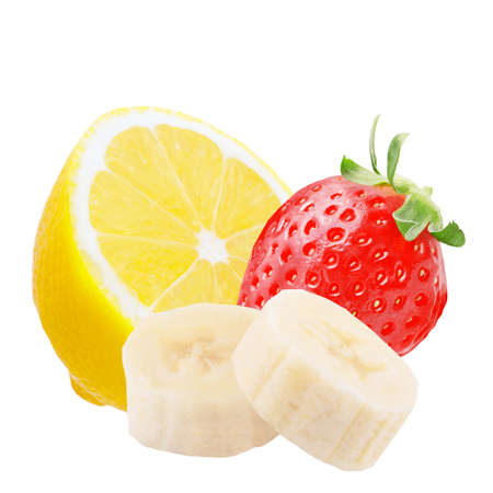 Isolated fruits. One whole strawberry, half lemon and slices of banana fruit isolated on white background with clipping path as a packaging element. Archivio Fotografico - 99127336
