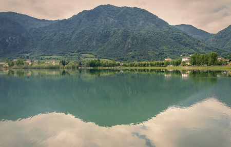 Panoramic view of Lake Idro in spring- Brescia - Lombardy