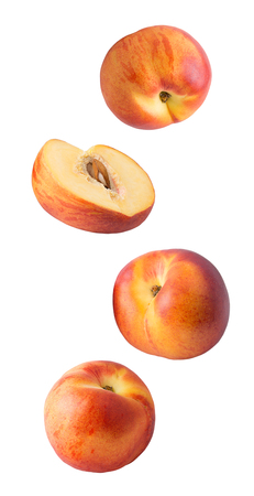 Flying peach and raspberry fruits