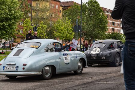 Brescia, Italy - May 18, 2019: Triumphant entry of the classic Italian race with vintage cars Archivio Fotografico - 132493777