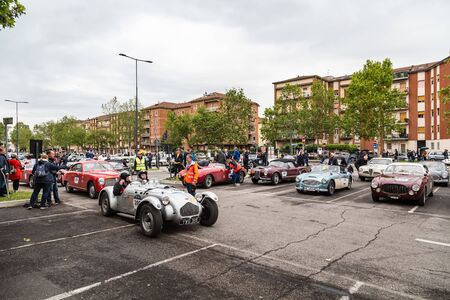 Brescia, Italy - May 18, 2019: Triumphant entry of the classic Italian race with vintage cars Archivio Fotografico - 132493756