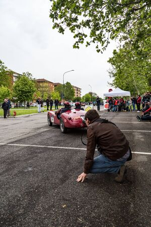 Public event of historical Parade of MilleMiglia a classic italian road race with vintage cars Archivio Fotografico - 132493759
