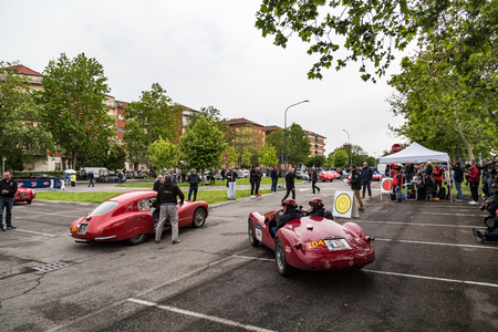 Brescia, Italy - May 18, 2019: Triumphant entry of the classic Italian race with vintage cars