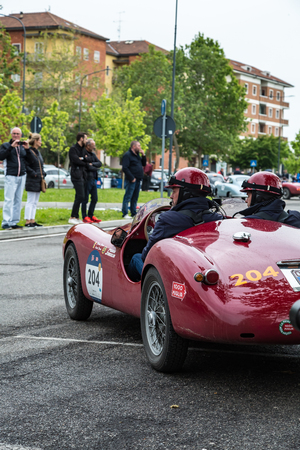 Brescia, Italy - May 18, 2019: Triumphant entry of the classic Italian race with vintage cars Archivio Fotografico - 132493768