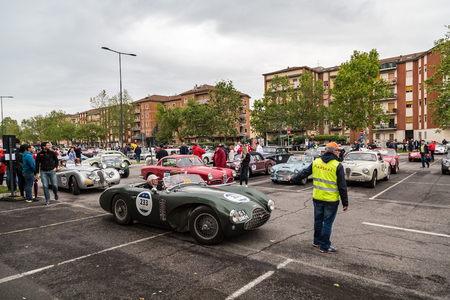 Brescia, Italy - May 18, 2019: Triumphant entry of the classic Italian race with vintage cars Archivio Fotografico - 132493772