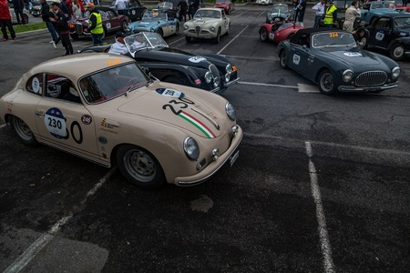 Brescia, Italy - May 18, 2019: Triumphant entry of the classic Italian race with vintage cars Archivio Fotografico - 132493774