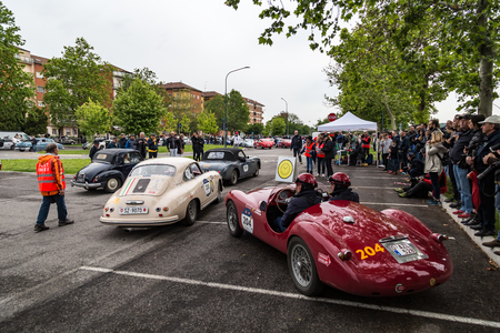 Brescia, Italy - May 18, 2019: Triumphant entry of the classic Italian race with vintage cars Archivio Fotografico - 132493770