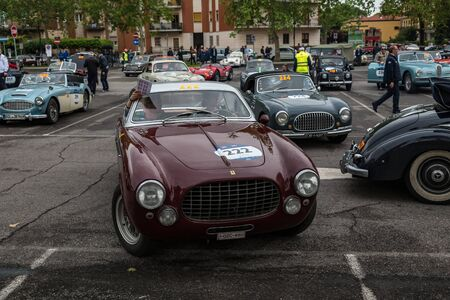 Brescia, Italy - May 18, 2019: Triumphant entry of the classic Italian race with vintage cars Archivio Fotografico - 132493754