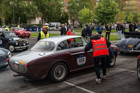Public event of historical Parade of MilleMiglia a classic italian road race with vintage cars Archivio Fotografico - 132493753