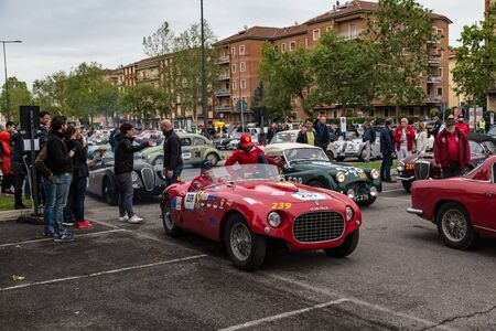 Brescia, Italy - May 18, 2019: Triumphant entry of the classic Italian race with vintage cars Archivio Fotografico - 132493964