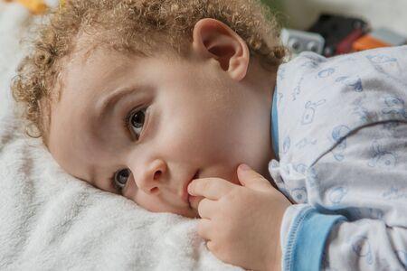 Portrait of little boy in pyjamas before going to sleep Archivio Fotografico - 127506361