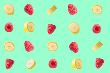 Colorful pattern made of fresh fruits on colored background Archivio Fotografico - 127506826