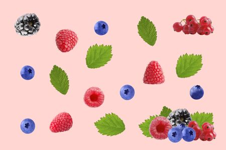 Colorful pattern made of fresh fruits on colored background Archivio Fotografico - 127506859