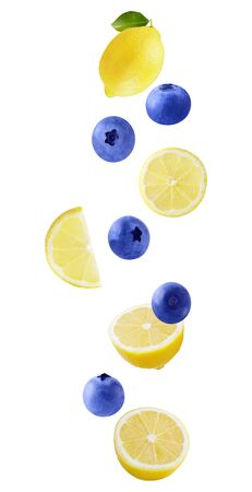 Isolated flying fruit. Falling lemon and blueberries isolated on white background as package design element and advertising. depth focus. full depth of field Archivio Fotografico - 129243787