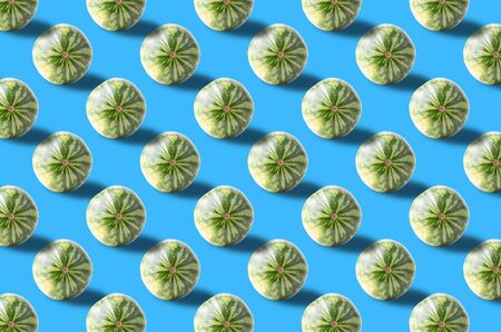 Fruit pattern. Colorful of fresh watermelon texture slices on blue background. Archivio Fotografico - 129243790