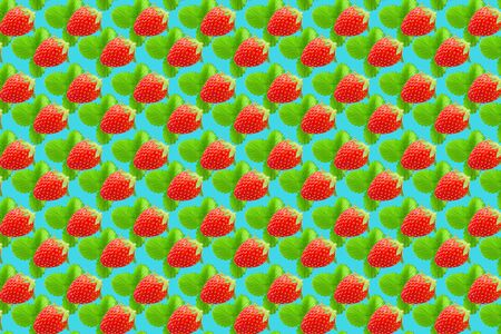 Fruit pattern. Colorful fresh strawberries texture slices on light blue pastel background. From top view. Archivio Fotografico - 129243788