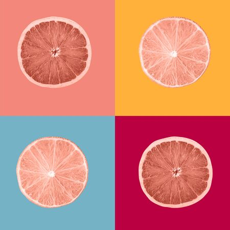 Composition coral colour painted slices of lemon fruits Archivio Fotografico - 129244438