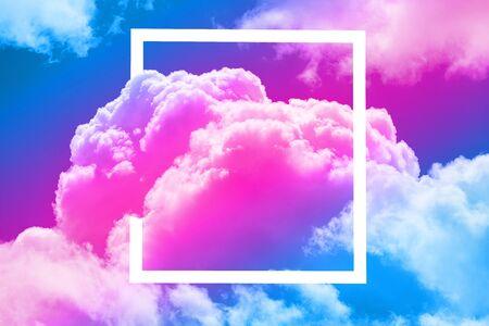 close up of sky in the white frame Archivio Fotografico - 129244442