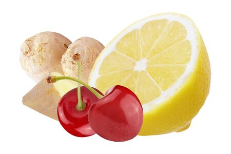 Fresh ginger with lemon and cherries isolated on white background Archivio Fotografico - 129244444