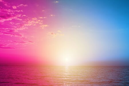 Light blue and violet neon background made of sea water or modern creative design.