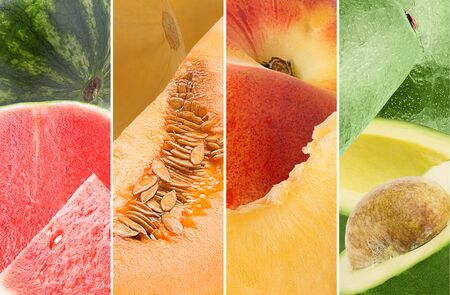 Photo Collage from different type of organic fruits Archivio Fotografico - 129244820