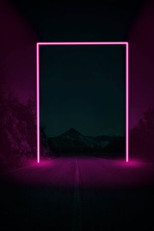Creative night landscape of the mountain road with neon frame. Supernatural concept. Ultra violet colors.
