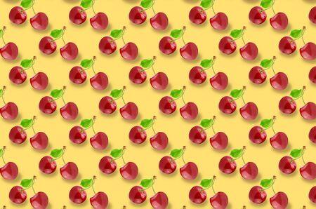 Wole cherry fruits pattern on colorful background Stock Photo
