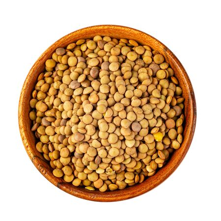 Lens culinaris or lentil, legume rich in protein and iron, isolated on white with clipping path as package design element and advertising. full depth of field. Banco de Imagens