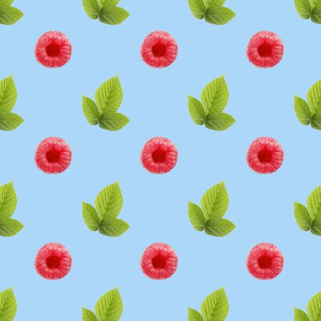 Seamless pattern of many whole raspberry fruits. Collage art. Vegetarian and healthy eating concept. Tropical abstract background. Banco de Imagens