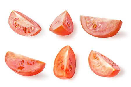 Set of fresh sliced tomatoes isolated on white with clipping path as package design element and advertising. full depth of field. Professional studio photo. Flat lay. Food concept.