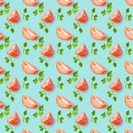Avocado eand tomato seamless pattern, on light blue colored background, top view, flat lay, summer pattern