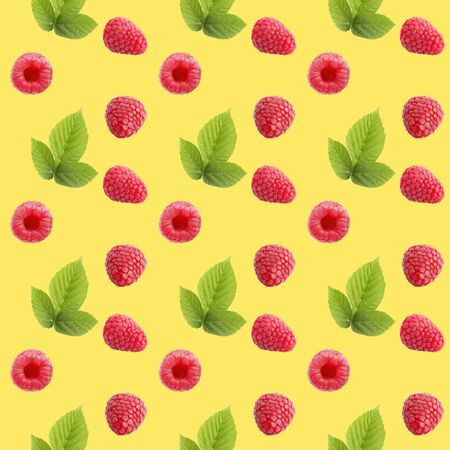 Seamless pattern of many whole raspberriey fruits. Collage art. Vegetarian and healthy eating concept. Tropical abstract background.