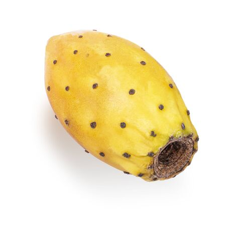 The Indian fig is good source of vitamins C, E, K, and beta-carotene. Nopal isolated on white background with clipping path as package design element and advertising. full depth of field