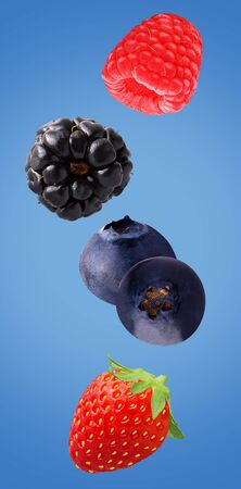 Flying fruit. Falling berries isolated on colored background   as package design element and advertising. full depth of field