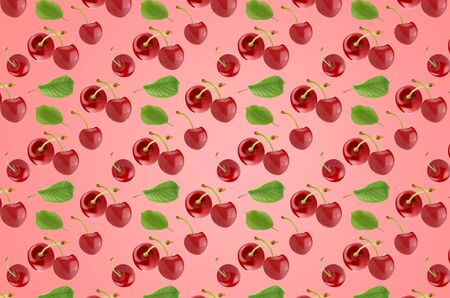 Seamless minimal summer fruits pattern of many whole cherries on coral texture, for blog or recipe book. Horizontal orientation. Banco de Imagens