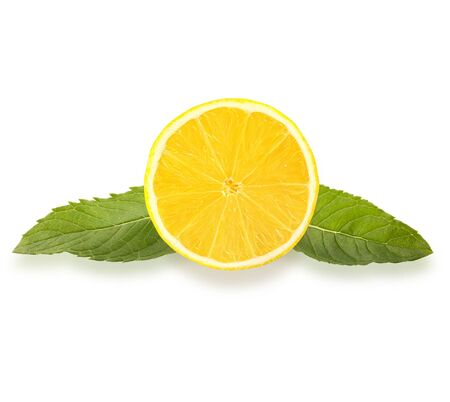 Isolated fruits. Lemon slice and mint leaves isolated on the white background   as package design element and advertising. Professional studio macro shooting.