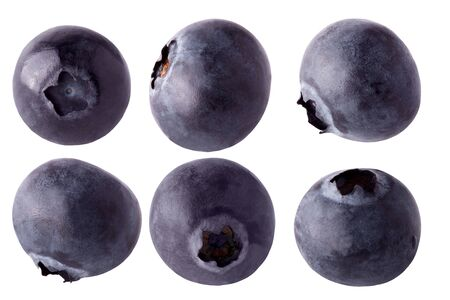 Blueberries collection   on white background for package design element and advertising. full depth of field. Banco de Imagens
