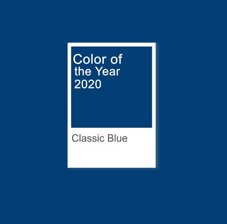 Classic blue color 2020 concept. Copy space. Blurred. Minimal background.