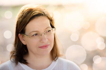 Beautiful women dressed in white outdoor portrait Stock Photo