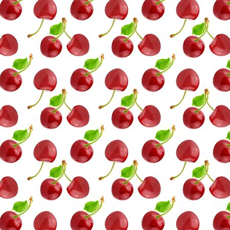Seamless beautiful art pattern with cherry fruits and leaves. Juicy ripe berry.